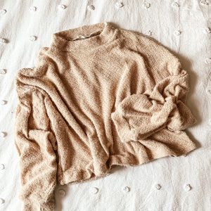 lush pale taupe woven lightweight sweater